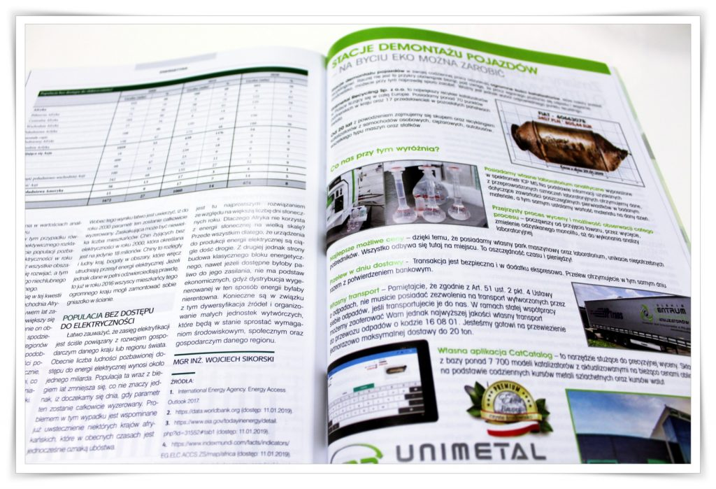 "On being EKO you can earn – Unimetal in the magazine ""Energy and recycling"""